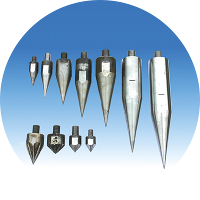 Konische Spitzen, Typ SPK. <br /> <br /> Lieferbar in vielen Größen. <br /> <br /> Chrom-Nickel-Stahl mit <br /> speziell gehärteter Oberfläche.